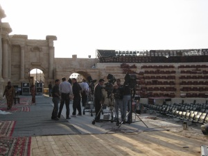 Roman theater being set up for a family event. In 2015 ISIS child soldiers staged the execution of 25 men.